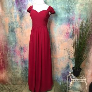⭐️Bill Levkoff Red Chiffon Prom- Bridesmaid Dress
